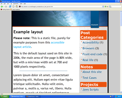 Screen shot in Firefox at hugely increased font size.