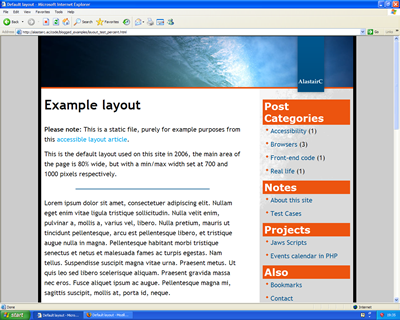 Screen shot in IE6 at much greater font size.