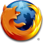 Firefox logo, a world icon wrapped up in a red fox.