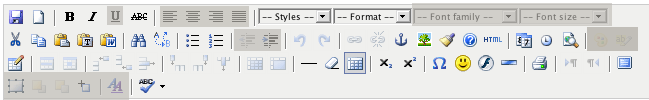 TinyMCE toolbar, with many controls greyed out: underline, justification, fonts, indent, colours, and positioning.
