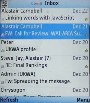 The same inbox via the Java based client.