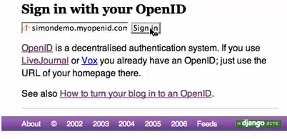 Simon's demo shows logging into his site with OpenID.