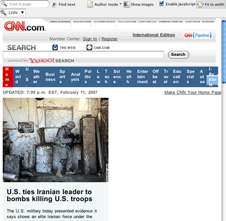 Opera showing CNN.com with fit-to-width, shrinking the top navigation.