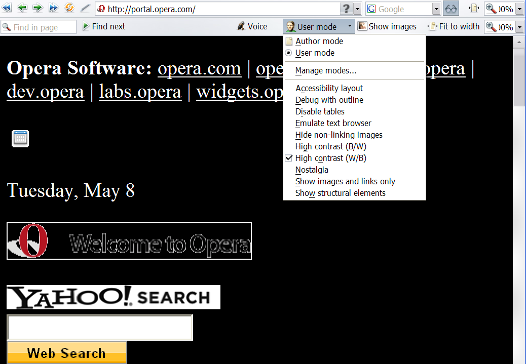 The same portal site with white on black text, and the layout removed so it is linear. The drop-down showing the options is also shown.