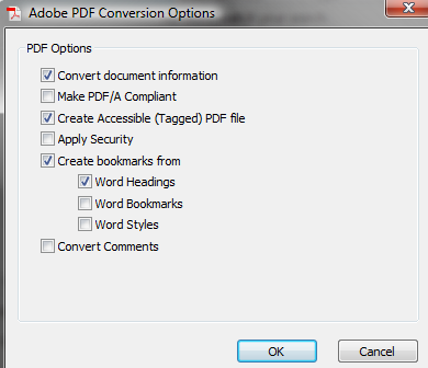 The Acrobat conversion settings, including creating an accessible (tagged) PDF.