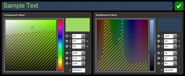 Screen shot of the Colour Contrast Visualiser, showing a foreground colour and accessible backgrounds to associate with it.