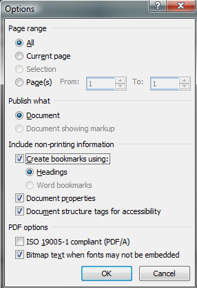 "Options dialogue from saving a PDF in word, set to use all pages, create bookmarks from headings, and to ""Document structure tags for accessibility""."