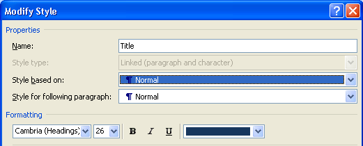 The modify style dialogue, showing the Title style, and a drop-down showing it's based on the Normal style.