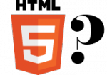 The W3C's new logo for HTML5 with a whacking great question mark next to it.