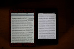 iPad and Nexus 7 side by side.