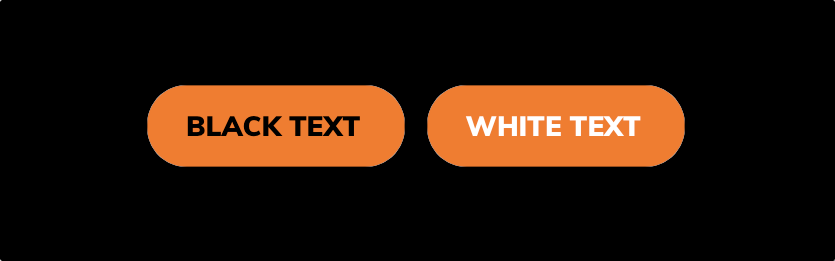 Two orange buttons, one with black text and one with white text, on a black page background.