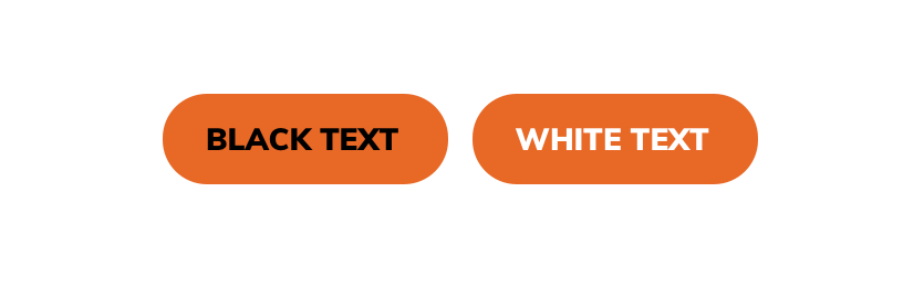 Two orange buttons, one with black text and one with white text, on a white page background.